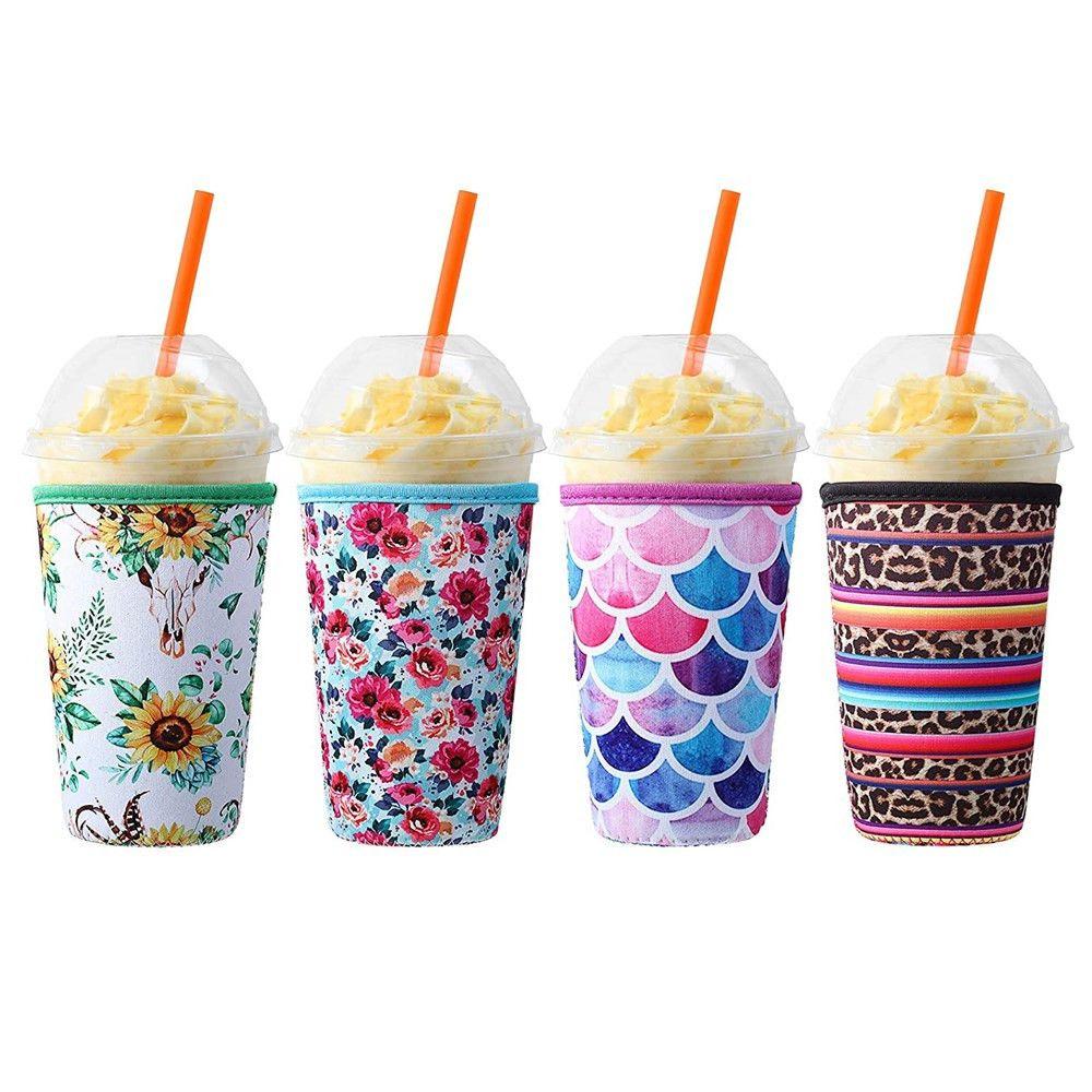 Hot 3 Tamaño Tamaño Reutilizable Copa de Café de la manga del aislante 30oz 20oz 16oz para bebidas frías Bebidas Bebidas Titular de la taza de neopreno para Dunkin Donuts