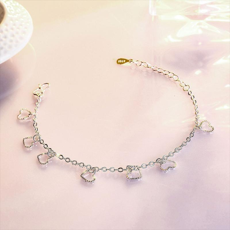 Link, Kette Mode Aushöhlen Herzförmige Quaste Armband Charming Frauen Party Silber Farbe Schmuck Romantisches Valentinstag Geschenk
