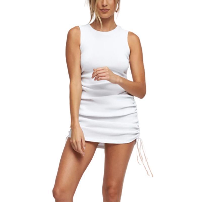 Günlük Elbiseler Yaz Kadın Katı Renk Bez-Uydurma Elbise Kolsuz Yuvarlak Yaka Shirtring Şık Çok Renkli S / M / L
