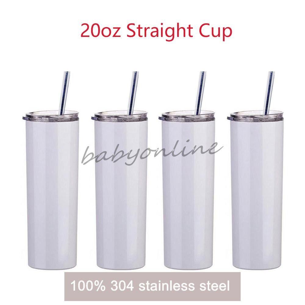 Pronto para enviar!!! 20oz sublimação direta de tumblers de aço inoxidável vácuo isolado garrafas de água cerveja caneca óculos com tampas e palhas