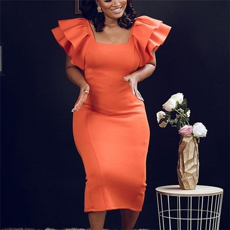 Kadın Bodycon Elbise Seksi Fırfır Flare Kollu Gece Kulübü Ince Parti Moda Kutlamak Afrika Kadın Akşam Paketi Kalça Vestidos 210303