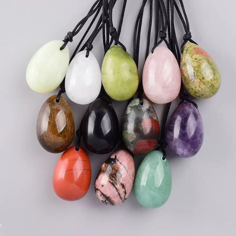 45x30mm Yoni Yeşim Yumurta Delinmiş Orijinal Doğal Taş Şifa Mineral Topu Kegel Masaj Egzersiz Pelvik Kat Sağlık Kadınlar
