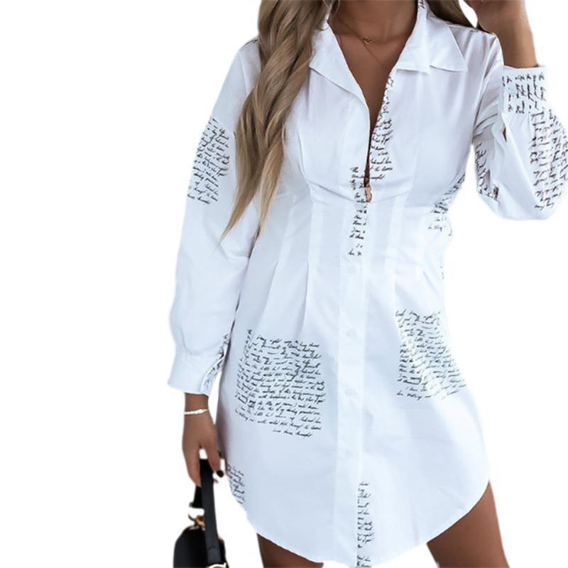 2021 Весна и осень V-образным вырезом Письмо рубашка женская кнопка рубашка платье повседневная буква с длинными рукавами напечатанный воротник свободный мода