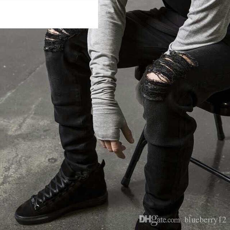 Мода мужская прямая стройная подходящая байкер джинсы брюки проблемные джинсы разорванные разорванные джинсовые джинсы промытые брюки хипхоп черный