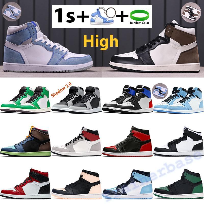 Yüksek 1 1 S Basketbol Ayakkabıları Hiper Kraliyet Karanlık Mocha Erkek Sneakers Üniversitesi Mavi Çam Yeşil Siyah Beyaz Gölge Obsidiyen UNC Patent Bred Erkek Kadın Eğitmenler