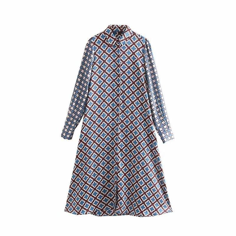 Neue Frauen Vintage Patchwork Druck Casual Slim Midi Kleid Herbst Damen Langarm Chic Vestidos Knöpfe Partykleider DS2959 210303
