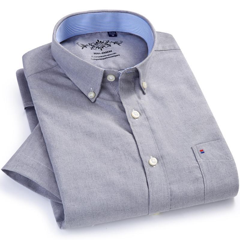 Мужские летние повседневные с короткими рукавами тонкие футболки оксфорд контрастные шеркиндостойкие дыхание премиум качества регулярных кнопок рубашки