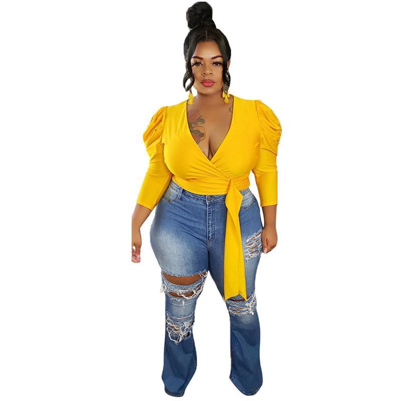 Женщины рубашка сексуальная Deep V-образным вырезом с лентой рубашка повседневная натуральный цвет с длинным рукавом рубашки женские одежда