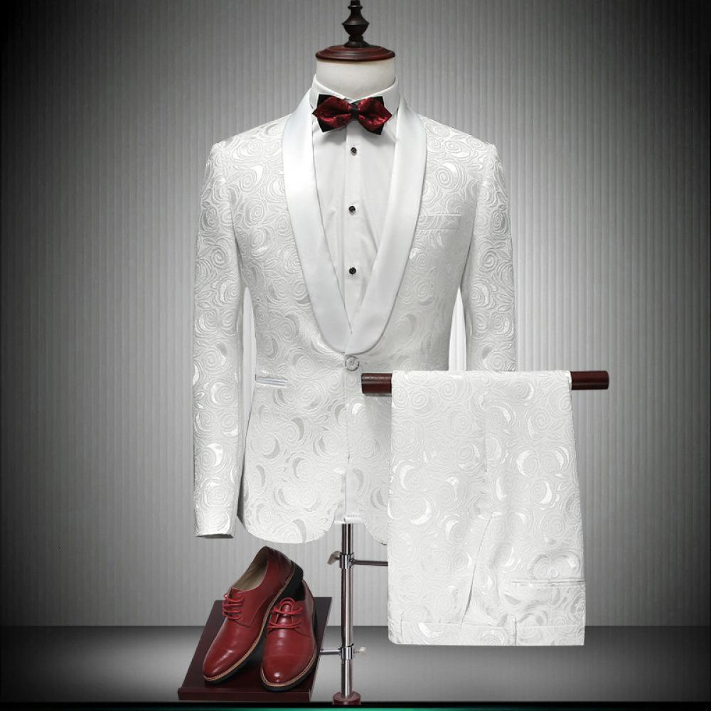 2021 Primavera Autumn Personalidad Masculino Slim Trendy Pure White Impresión Dos piezas Groom Boda Banquete Takim Elbise Traje T8VJ