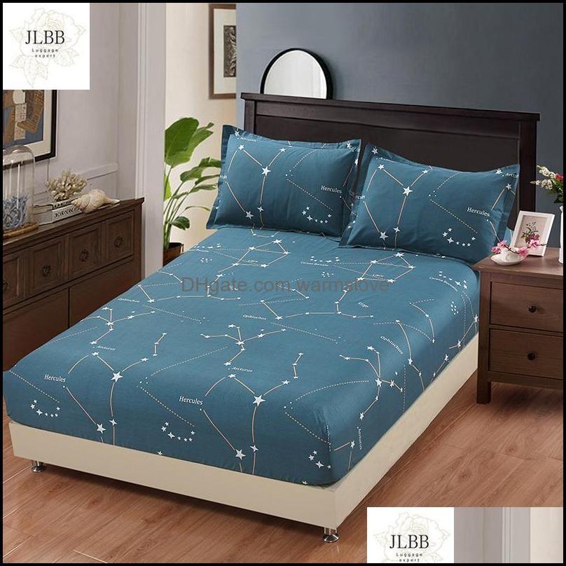 Sheets Bedding Supplies Textiles Home Gardensheets & Sets 100% Cotton Star Cartoon Blue Bed Fitted Sheet Elastic Mattress Er Linen Bedspread