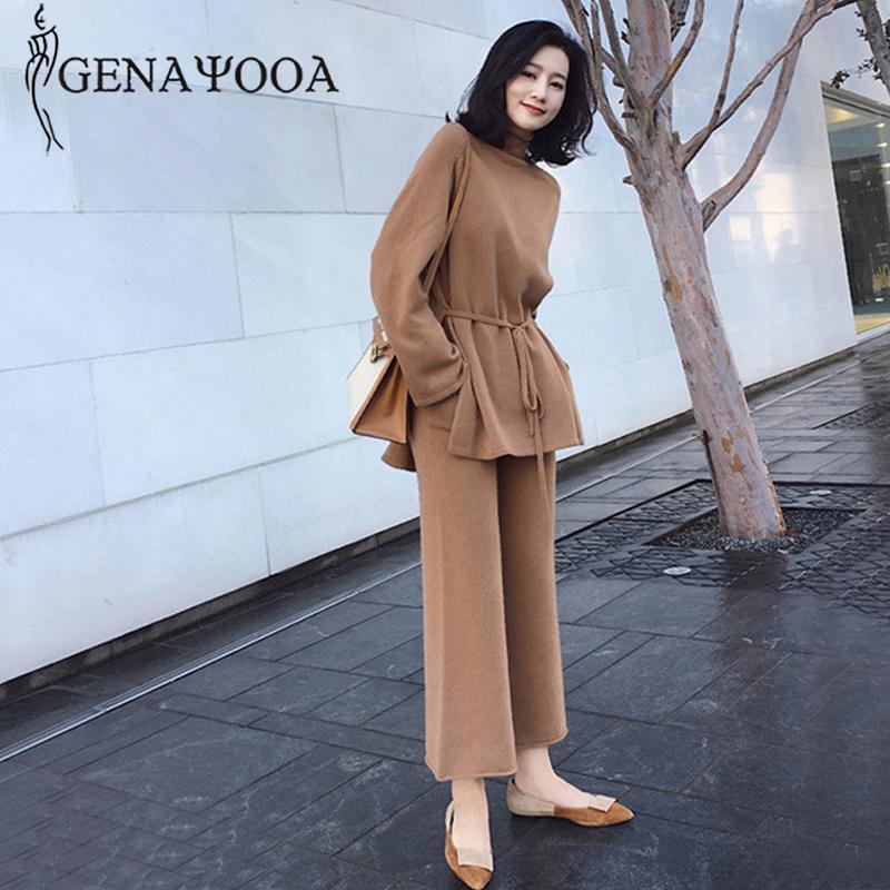 Genayooa 2020 invierno otoño de punto pantalones ancho pantalones traje de manga larga dos piezas trajes elegantes 2 piezas suéter pantalones conjunto 2020