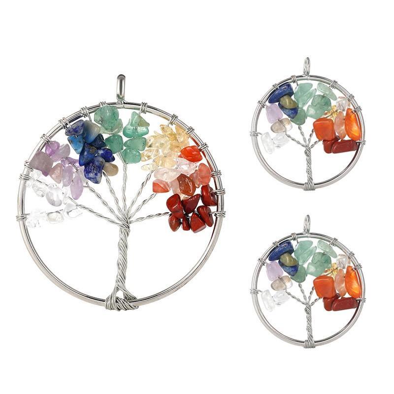 7 شقرا ستون شجرة الحياة اليدوية سلك ملفوفة المعلقات للأزياء الملونة سحر مجوهرات اكسسوارات بالجملة-Z 228 R2