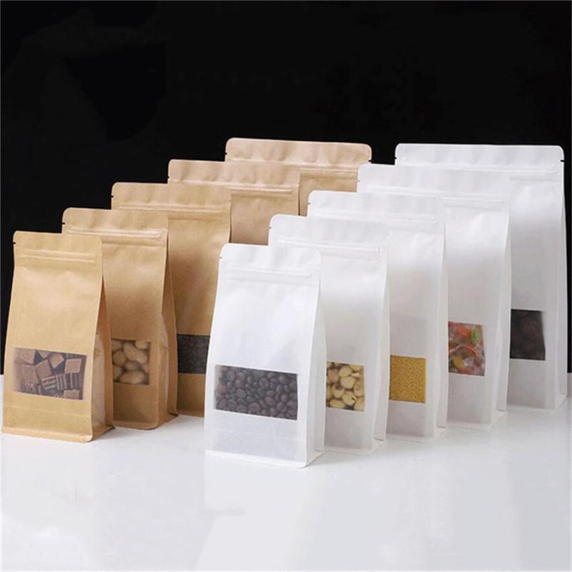 100pcs / lot Stand up up sacchetti di carta kraft sacchetti di carta da caffè Cookie regali Borse di stoccaggio con sacchetto di stoccaggio alimentare finestra