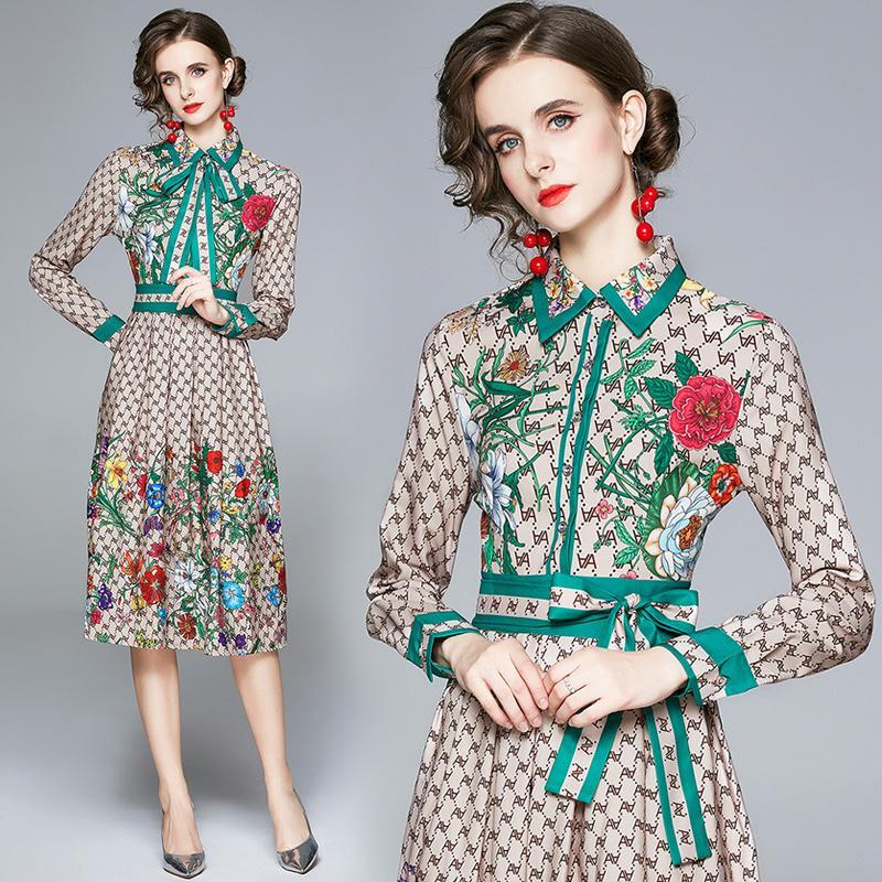 Moda Bahar Tasarımcısı Çiçek Elbise Artı Boyutu Güz Kış Uzun Kollu kadın Pileli Elbiseler Parti Balo Zarif Ofis Bayanlar Gömlek Elbise