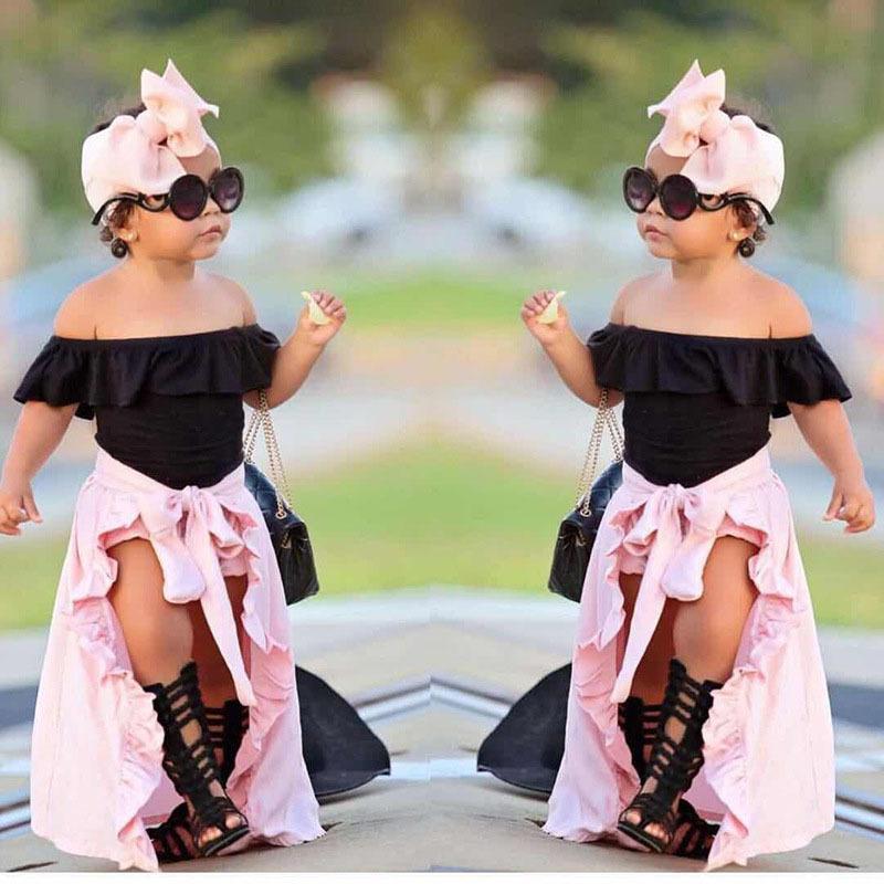 2021 Новая мода малыш девушка летом хлопок детская одежда для девочек с коротким рукавом топы + шорты + одежда юбка + голова 4 шт. 2-7 лет 619e