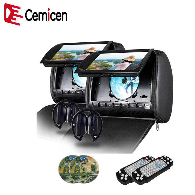Cemicen 2 PZ 9 pollice Auto Poggiatesta Monitor DVD Video Player 800x480 Cover Zipper Coperchio TFT Schermo LCD con IR FM USB SD Speakes Game