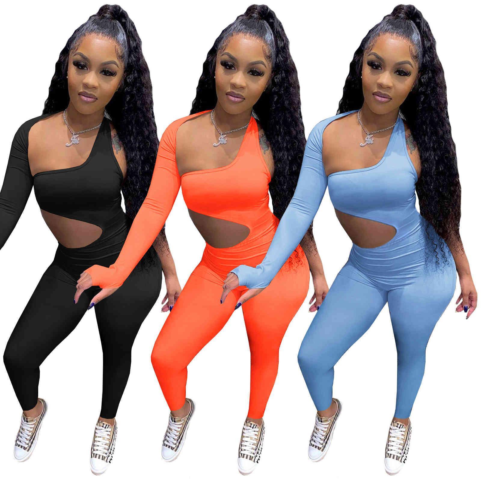 Frauen Zwei Stück Outfits Sexy Jumpsuits Strampler Schwarz Eine Schulter Shorts Hosen Trainingsanzüge Bodysuit Elegant Casual Jogging Nachtclub Kleidung 818