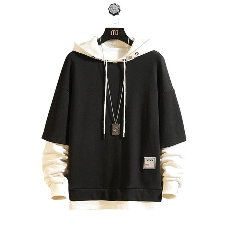 Fashion Skateboard Hoodies Sweatshirts Men'S Casual Spring Autumn Black Clothes OverSize M- Hip Hop Patchwork Streetwear LJ201222