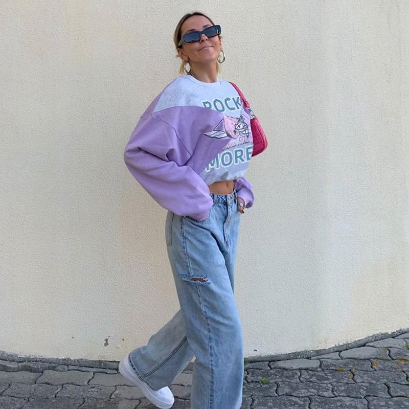 Sudor impreso lindo creckneck sudadera mujer casual moda manga larga jersey sudor camisa otoño invierno con capucha