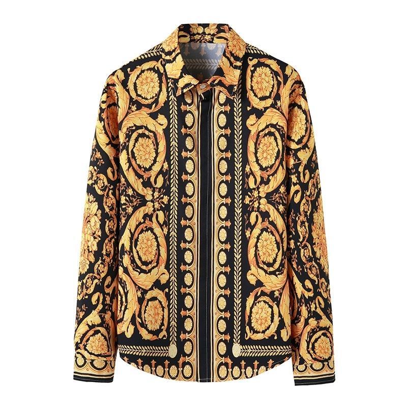 Camicia Royal di lusso Uomini 2021 Brand Manica lunga Mens Dress Camicie Baroque Stampa floreale Camicia da uomo Camicia da uomo Camicie da uomo Camisas Hombre 210225
