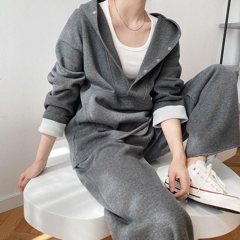 Kaliteli Boy Yüksek İki Parçalı Bayan Seti Spor Eşofman V Yaka Kapşonlu Elastik Bel Gevşek Sıcak Büyük Cep Bayanlar Suit W 9K4C