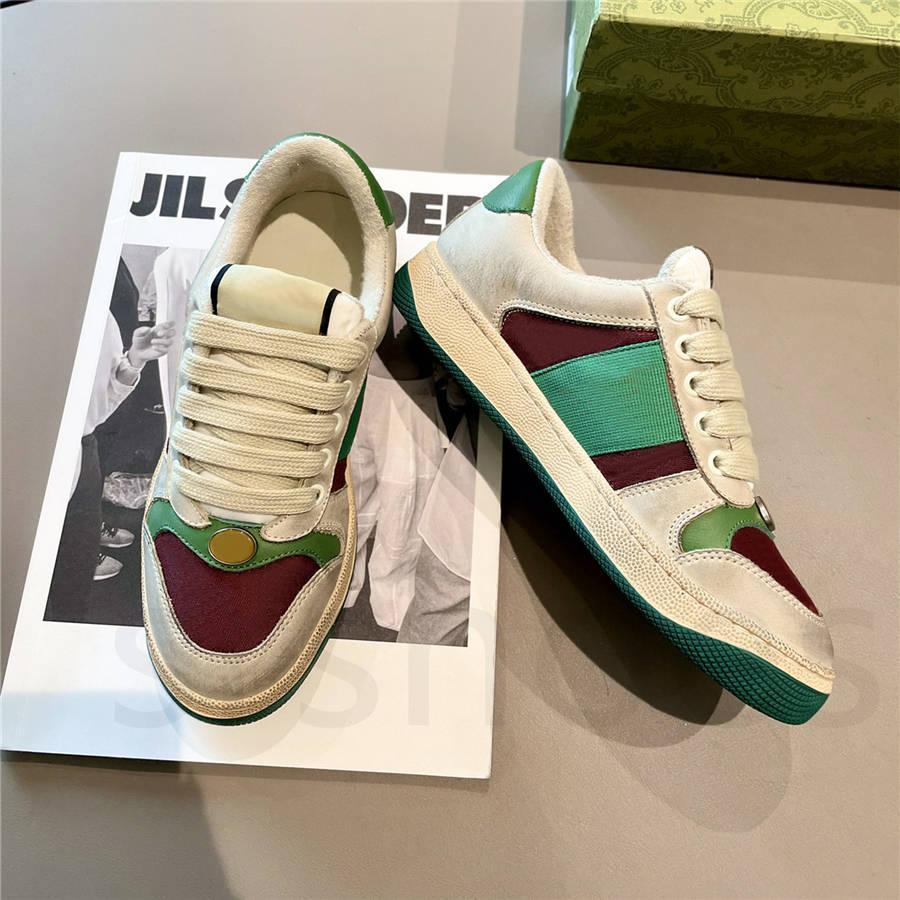 Новый роскошный дизайнер Screener Skysker Италия Грязная кожа Зеленая красная полоса ACE повседневная обувь классический проблемные кроссовки скважин