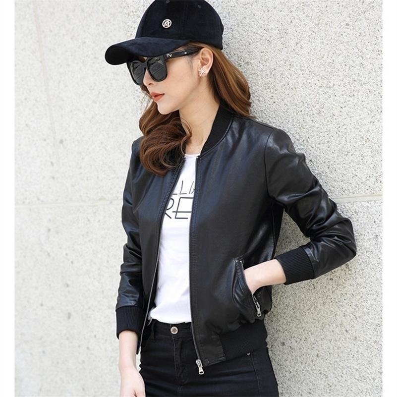 موضة جديدة ربيع المرأة دراجة نارية فو بو الجلود الأسود منفذها سترات الإناث قصيرة طالب السائق معطف السيدات جاكيتات جلدية LJ201012