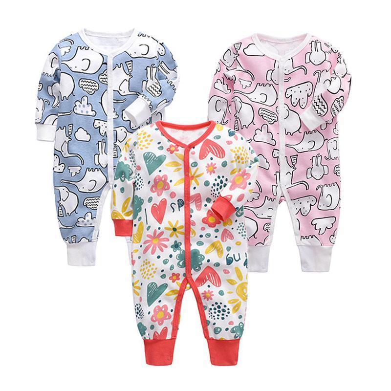 2021 Frühlingsmode Neugeborene Kleinkind Kleinkind Baby Jungen Strampler Langarm Jumpsuit Spielanzug Kleine Junge Mädchen Outfits Kleidung 0-24M