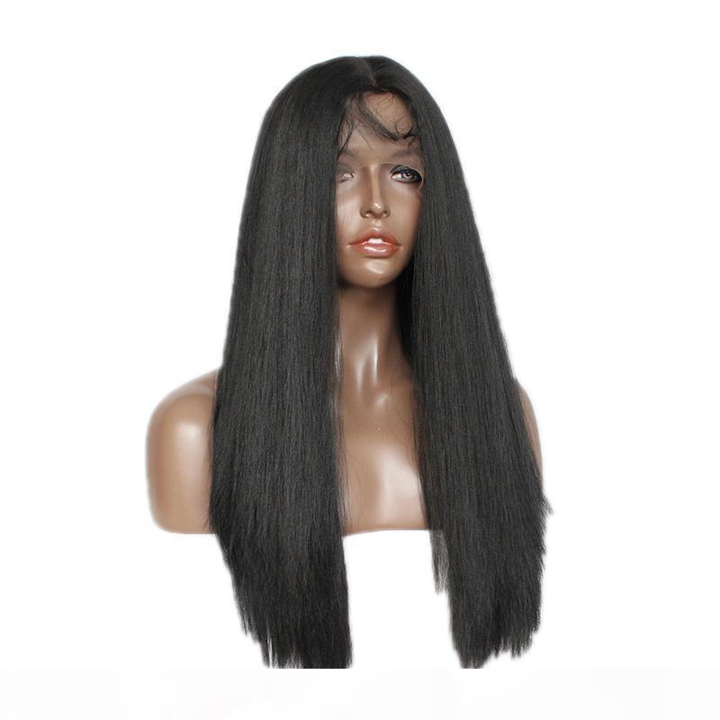 Синтетический страшный прямой кружевной парик для чернокожих женщин без глееных длинных черных итальянских яки прямой синтетический шнурок передний парик с детскими волосами