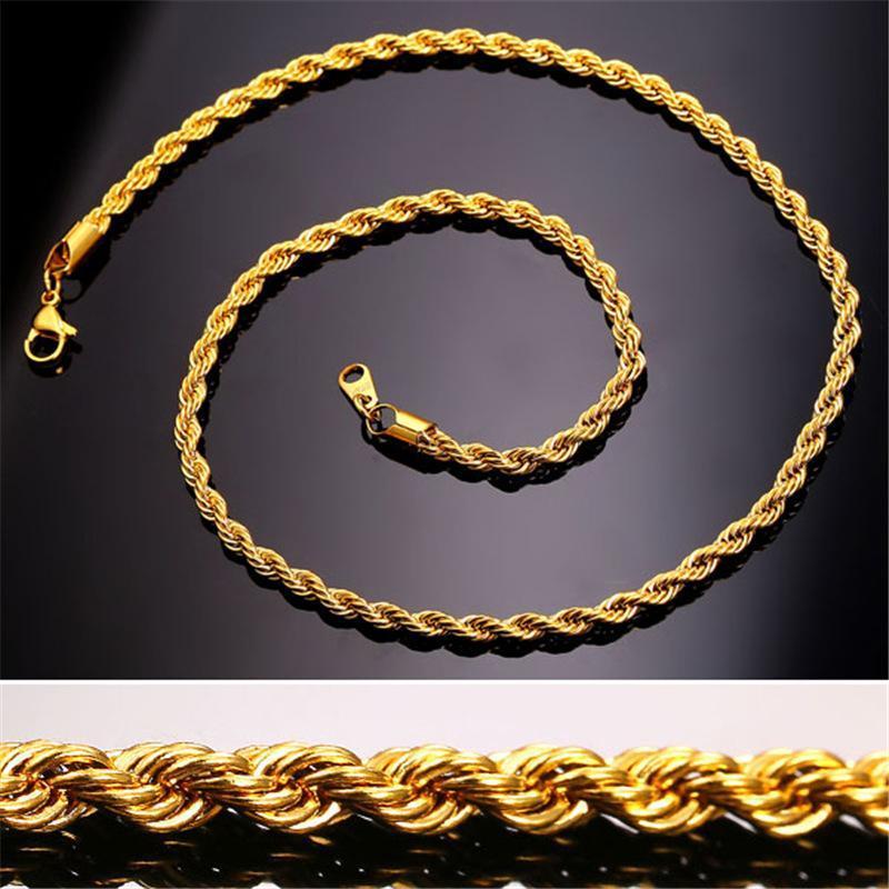 2020 NRE 18 K Gerçek Altın Kaplama Paslanmaz Çelik Halat Zincir Kolye Erkekler Için Altın Zincirleri Moda Takı Hediye
