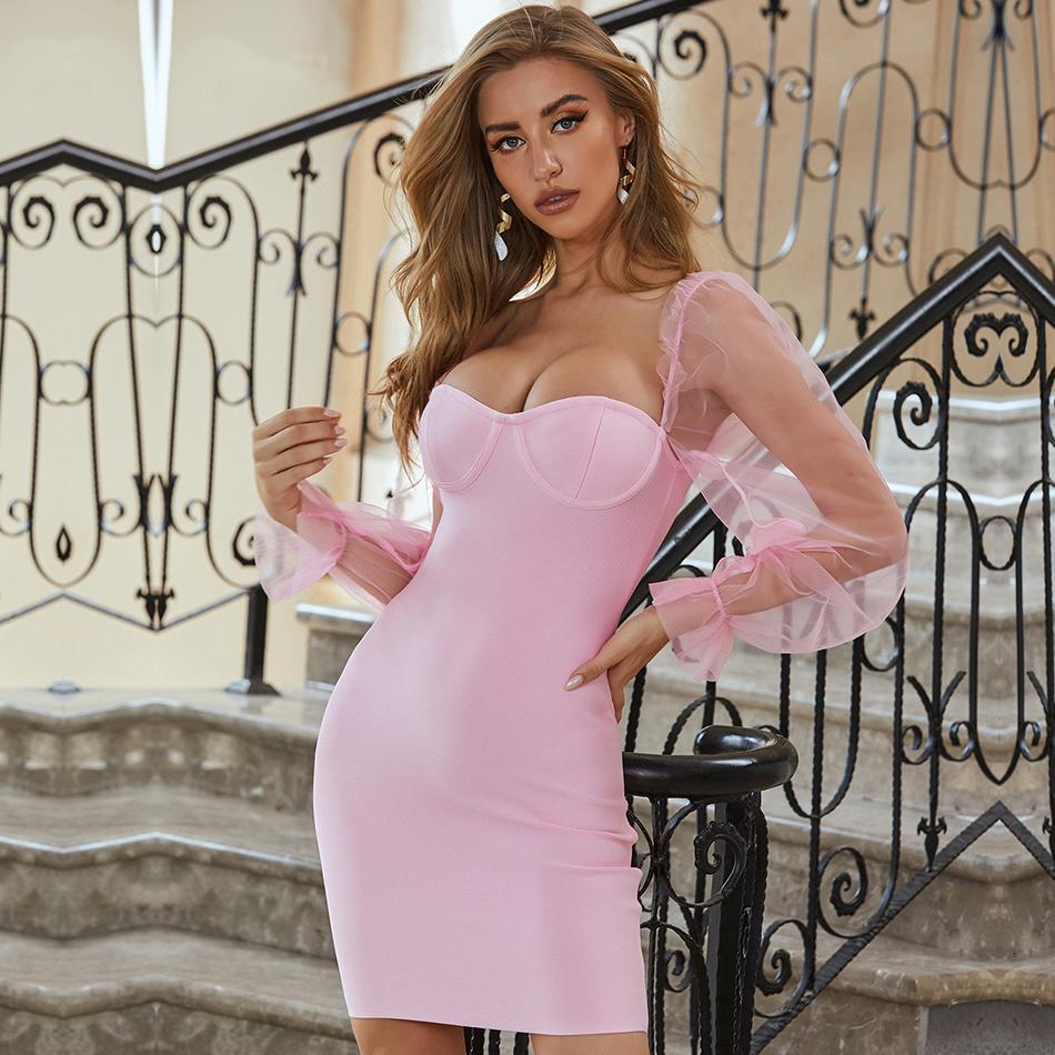2021 Neue Sommer Rosa Langarm Bandage Kleid Sexy Frauen Spitze trägerlos Celebrity Runway Eveving Party Kleider Vestidos Xuc0