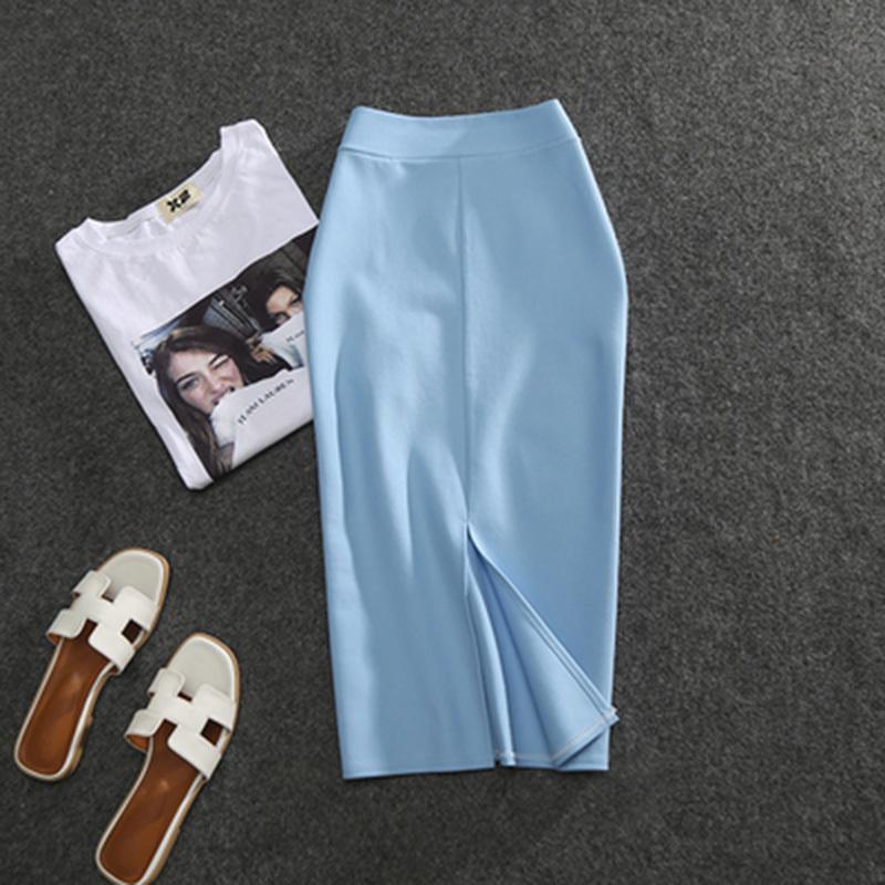 Novas Femininas Saias Lápis Sólido Pisc Cintura alta Slim Fit Girl Summer Senhora Elástico Feminino Sexy Tube Faldas 210305