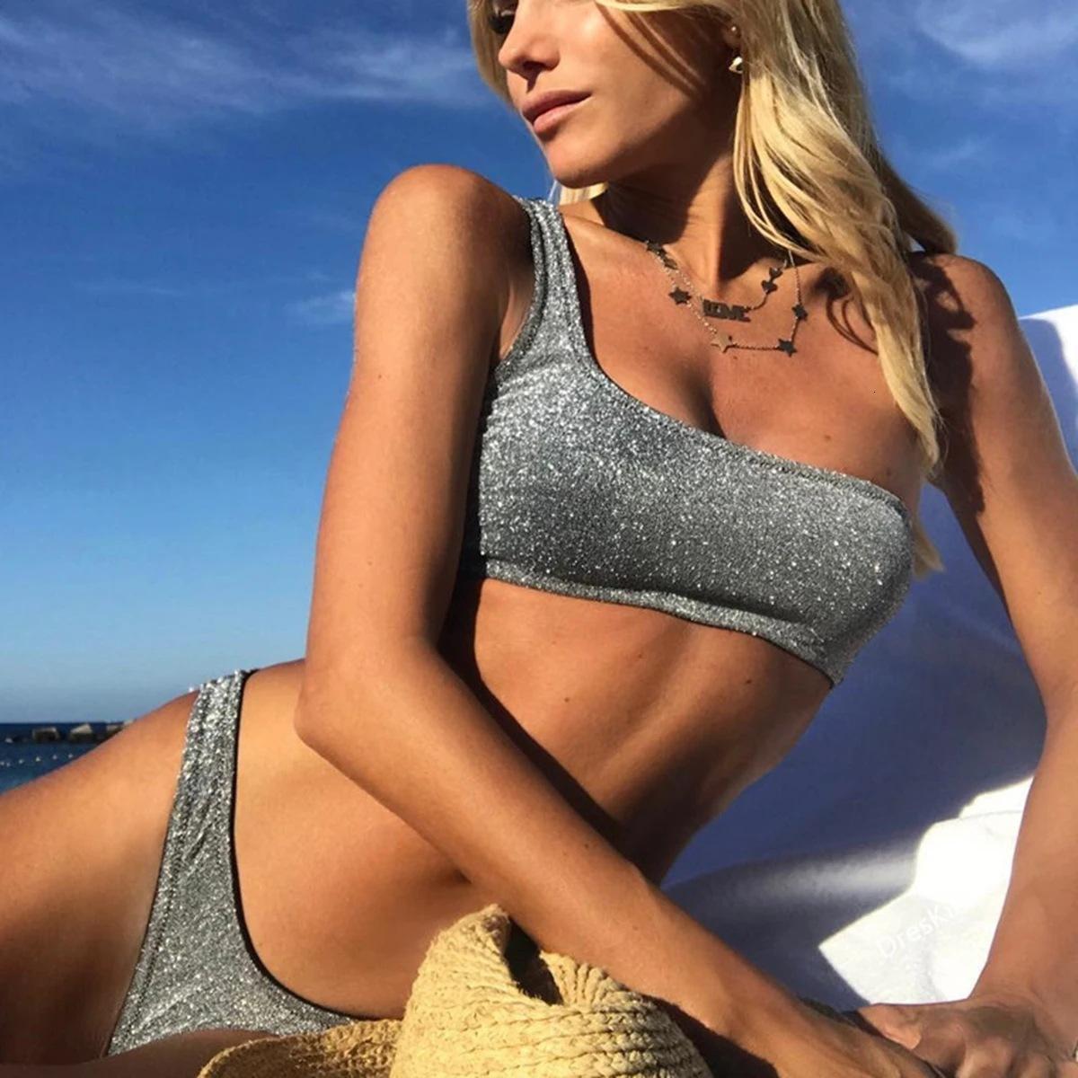 Ins Slant Ombro Brilhante Tecido New Bikini Swimsuit
