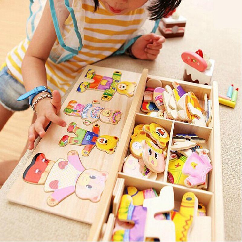 Little Bear Cambiar ropa Educación temprana para niños Jigsaw de madera Puzzle de rompecabezas Juego de rompecabezas de madera para bebés juguetes 0011