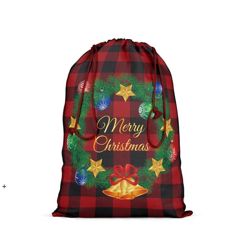 Weihnachten Plaid Geschenk Taschen Rentiere Check Bedruckte Santa Claus Kinder Süßigkeiten Tasche Weihnachten Kordelzug Sack Party Festliche Dekoration 48 * 64cm Nhe10036