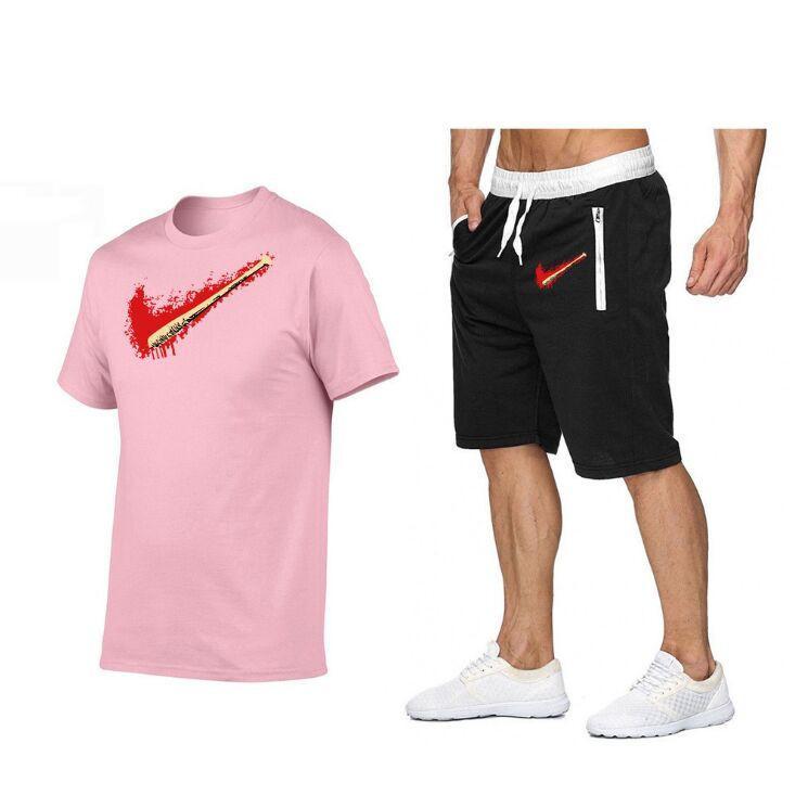 Imposta gli uomini stampa 100% cotone t-shirt t-shirt pantaloncini 2021 Tracksuit estivo set corto set sportivo sportivo jogging sweatsuit basket maglia
