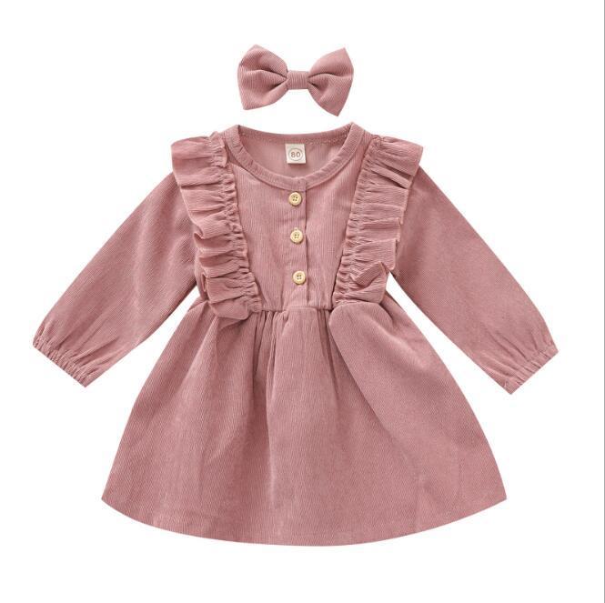 Girls Dresses Bambino vestito bambino pizzo in velluto aderente principessa abiti bowknot per forcella bambino abito a maniche lunghe neonato boutique abbigliamento wmq626
