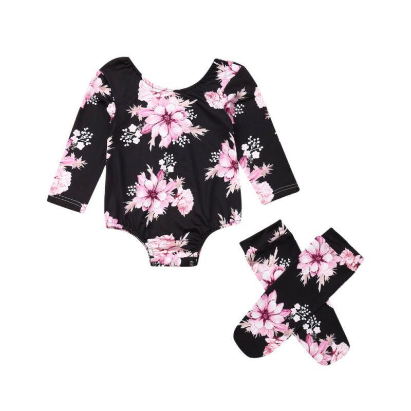 Baby Mädchen Blume Strampler Kleinkind Jumpsuit + Beinwärmer Outfits Neugeborene Kleidung Mädchen Blume Lange Ärmel Strampler Kinder Socken