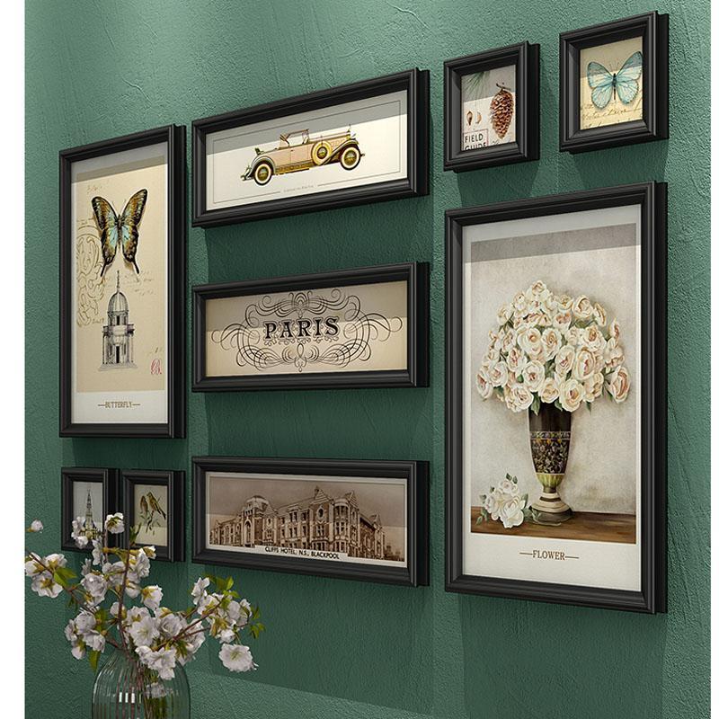 إطارات 9 قطعة / المجموعة الكلاسيكية الأمريكية po الإطار مجموعة أريكة جدار خلفية الديكور مزيج مستطيل مطعم صورة
