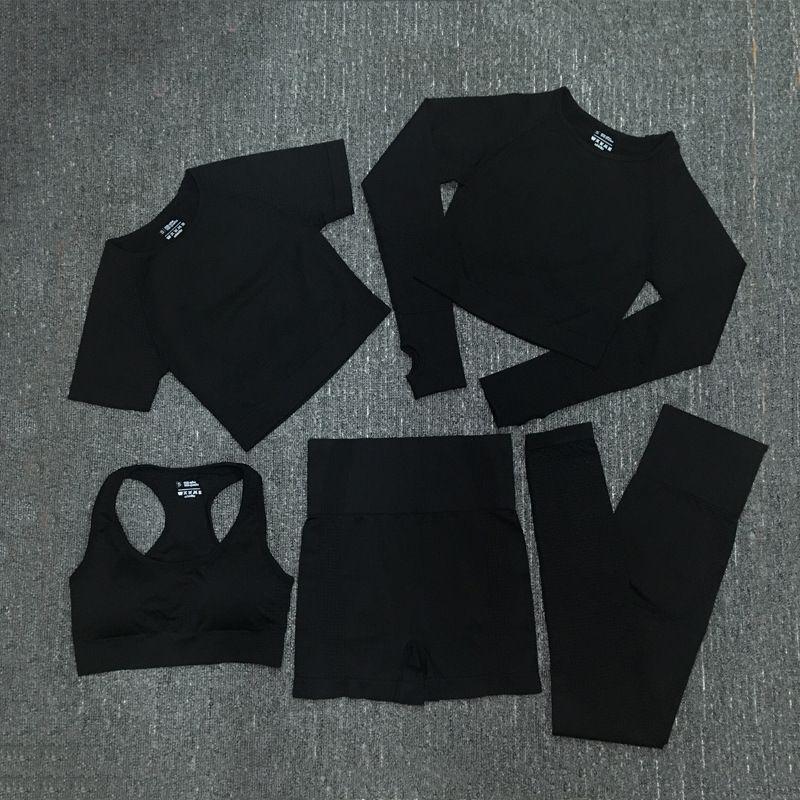 5 adet / takım Yoga Set Spor kadın Eşofman Dikişsiz Nokta Yoga Giyim Kadın Giyim Eşofman Kadınlar 8 Renk