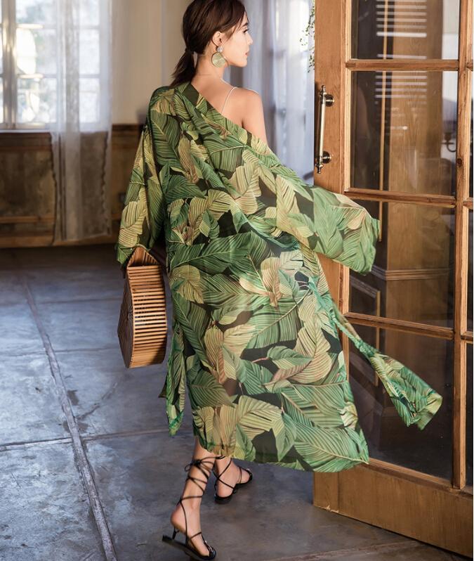 Teyynn Green Stampa floreale Chiffon Kimono Donne Camicette Camicette a maniche lunghe Manica lunga Robe Boho Beach Beach Wear Bikini Cover Up Vestidos 210226