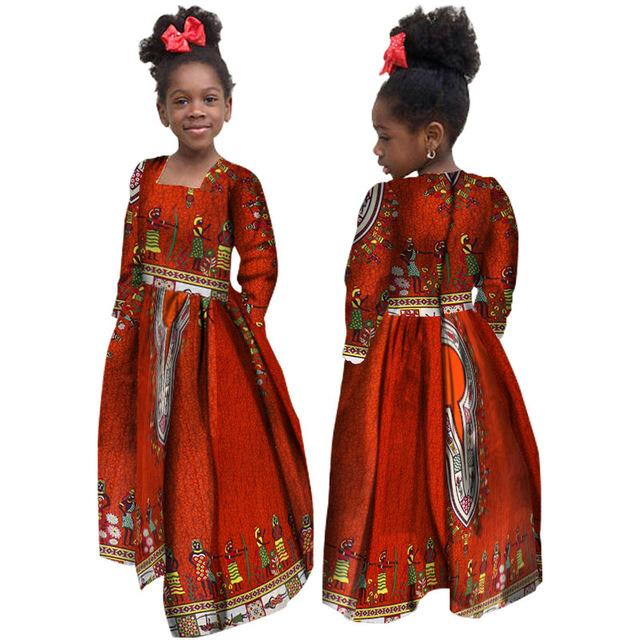 Африканское Осень Девочка Платье Детские Дашики Традиционные Хлопковые Платья с длинным рукавом Соответствующие Африки Принт Девушка Натуральное Платье WYT61