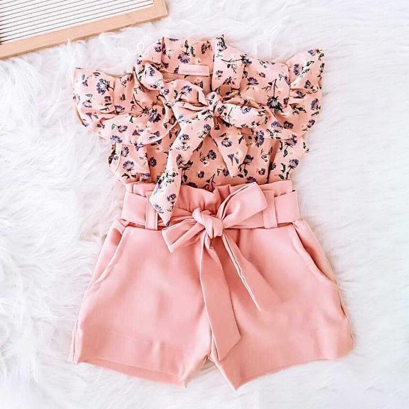 Baby Girls Clothes Sets 2021 Sweet Summer Kids Suit Floral Short Sleeve Bow Top+Shorts 2Pcs Outfit Children Clothing 1-5Y