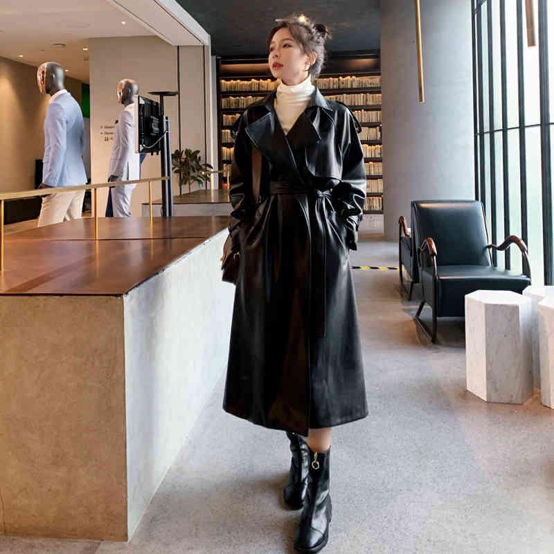 Women's Trench Coats Moda nova marca feminina longo plutônio couro trench coat com cinto senhora blusão waterpoof feminino outerwear primavera outono preto JP58