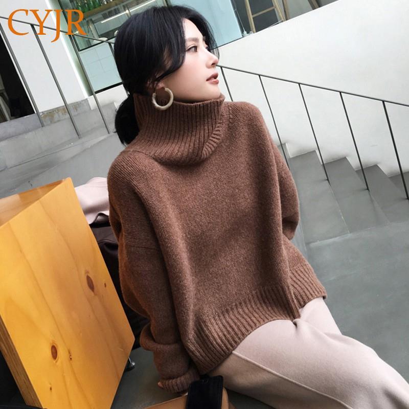 Pull de pull pour femmes à haut débuté d'hiver, pulls en vrac automne filles tricoter vêtement de vêtement de dessus surdimensionné caissier surdimensionné 58cn