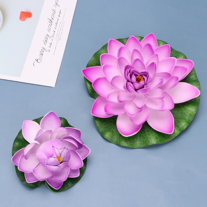 Dekorative blumen kränze 6 stücke künstliche lebensechte lotus lilien simulation plastik teichpflanzen hauptdekoration - 4 stücke größe l und 2 stücke m (