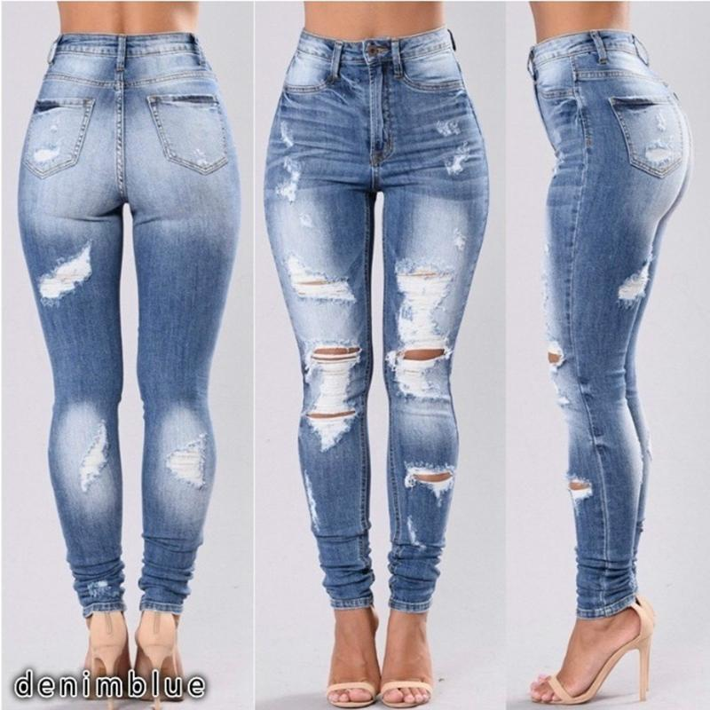Women's Jeans Fashion Pencil Skinny Denim Pants Women Washed Jeans Women Stretch Mid Waist Skinny Hole Ripped Jeans Hollow Out S-3XL