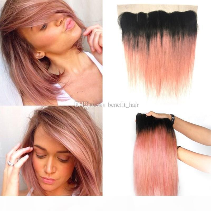 OMBRE 1B розовое золото шелковистые прямые пучки волос человеческих волос с кружевом фронтальным двумя тоном оммре розовый фронтальный с бразильской девственницей