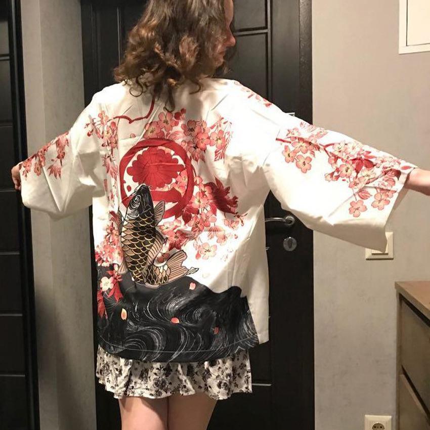 2021 Новый Свободные Стиль Harajuku Женщины Японский Haori Кардиган Кимоно Тонкая Мода Укио-Е Кой Кран Принт Самурай Юката Пальто Одежда 61Уо