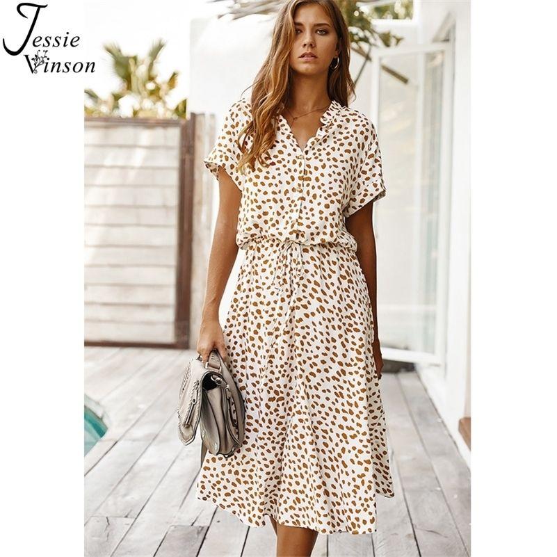 Jessie Vinson Dots Imprimer Blanc Summer Femmes Tunique à manches courtes Midi Casual Boho Beach Vestidos ZA Robe 210312